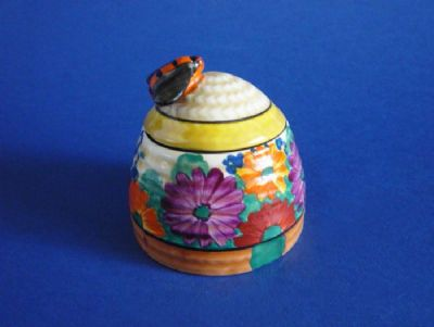 Early Clarice Cliff Bizarre 'Gayday' Beehive Honey Pot c1929